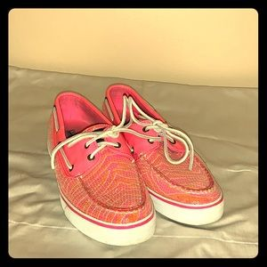 Sperry top - sider boat shoes hot pink sequins